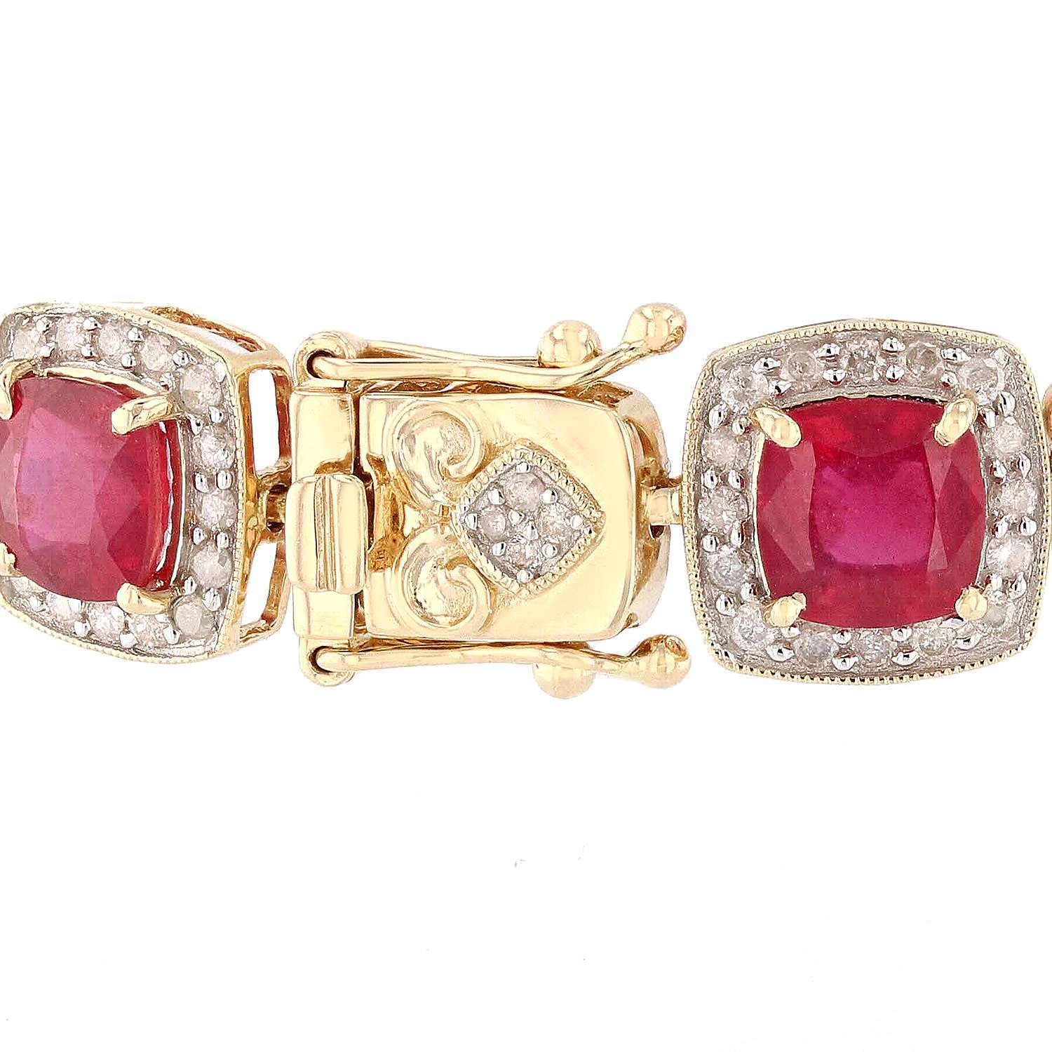 15.86ctw Ruby and 1.86ctw Diamond 14K Yellow Gold Bracelet