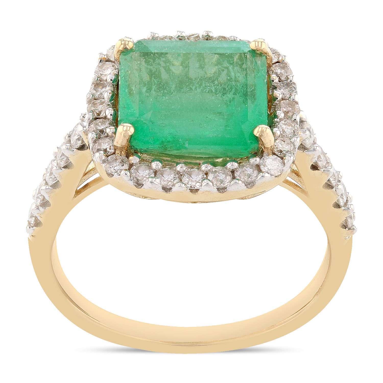 3.42ct Emerald and 0.57ctw Diamond 14K Yellow Gold Ring