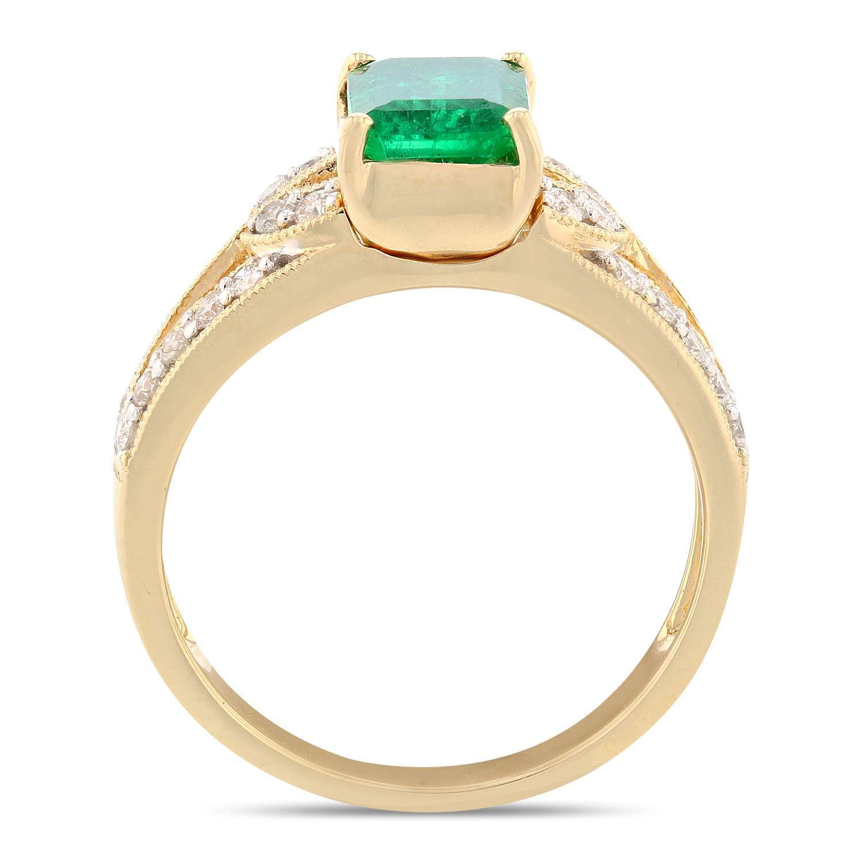 1.24ct Emerald and 0.38ctw Diamond 18K Yellow Gold Ring