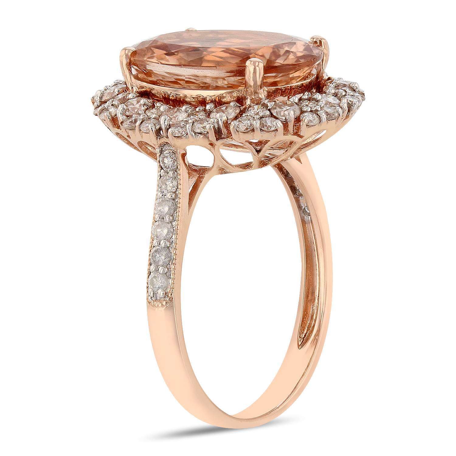 4.83ct Morganite and 0.88ctw Diamond 14K Rose Gold Ring