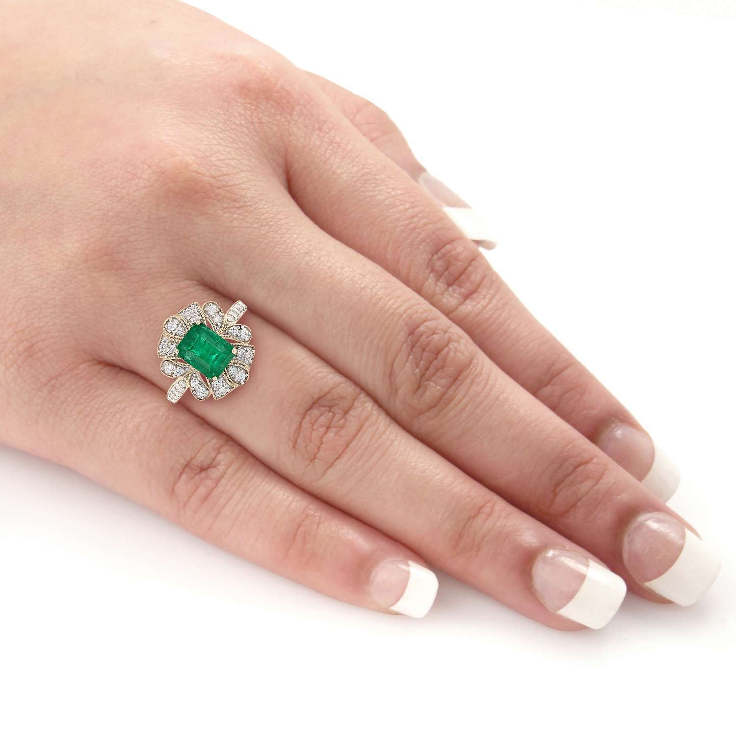 2.15ct Emerald and 0.38ctw Diamond 14K Yellow Gold Ring