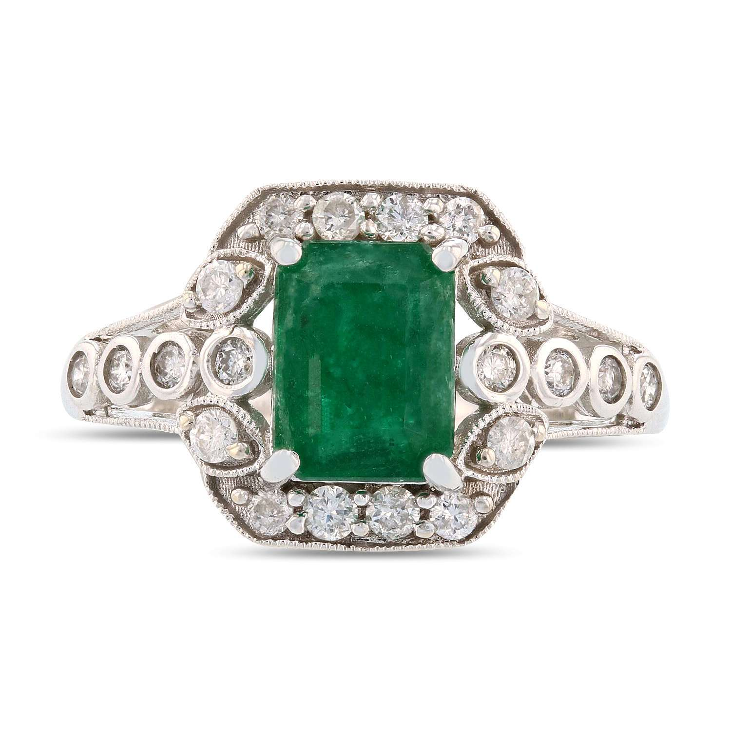 1.64ct Emerald and 0.38ctw Diamond 14K White Gold Ring