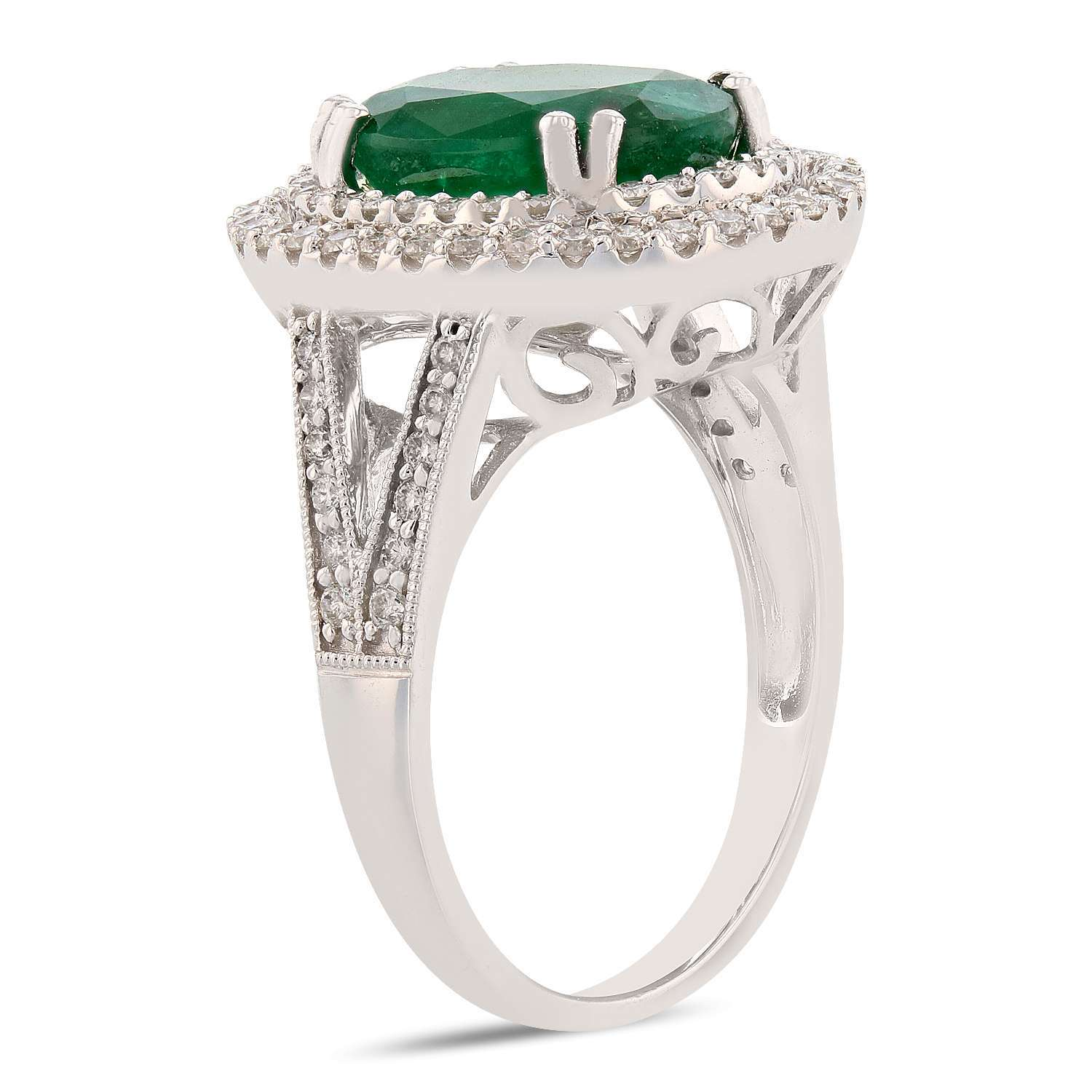 3.42ct Emerald and 0.58ctw Diamond 14K White Gold Ring
