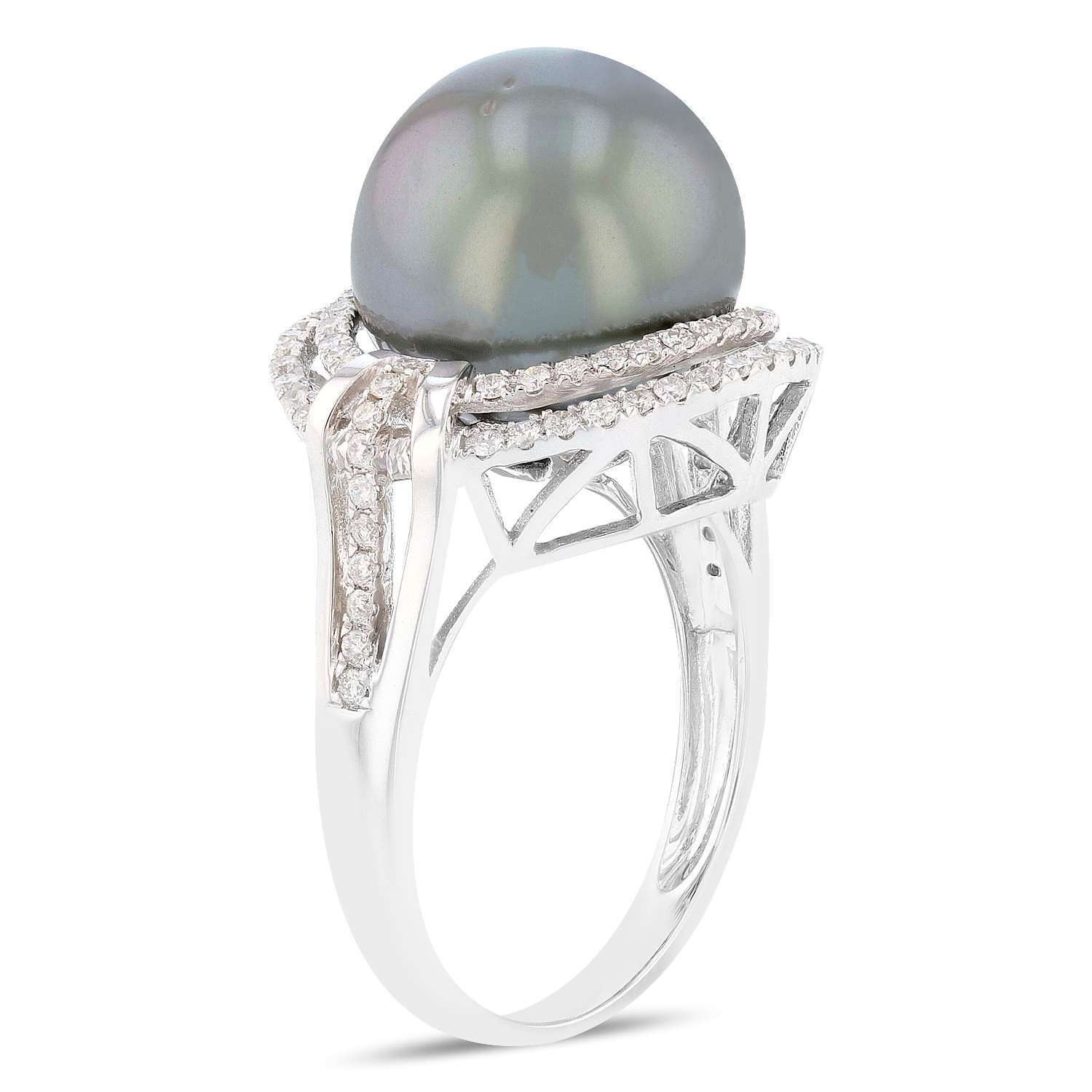 12.5mm Tahitian Culdtured Pearl and 0.45ctw Diamond 18K White Gold Ring