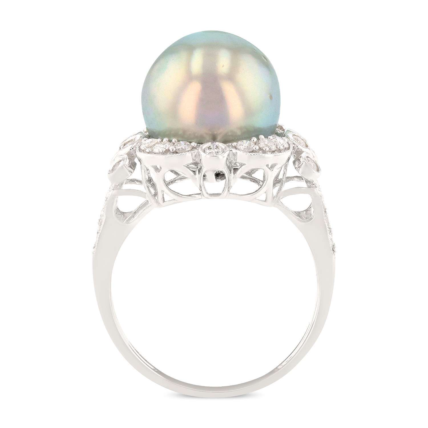 12.0mm Tahitian Cultured Pearl and 0.63ctw Diamond 18K White Gold Ring
