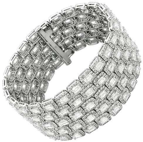 43.27 Ct. Emerald Cut Diamond Five Row Bracelet in 18K White Gold 80 Grams