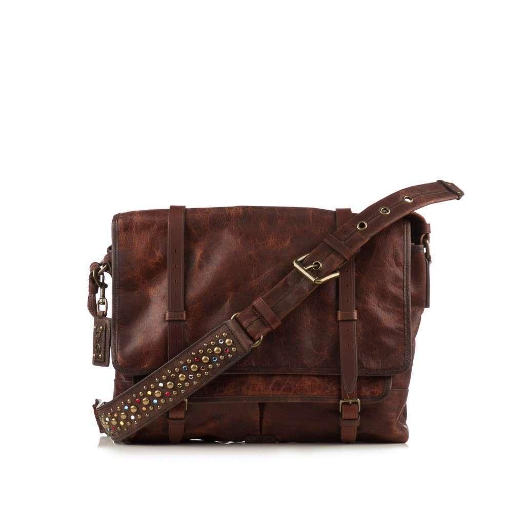 D & G  Dark Brown Leather Crackle Messenger Bag
