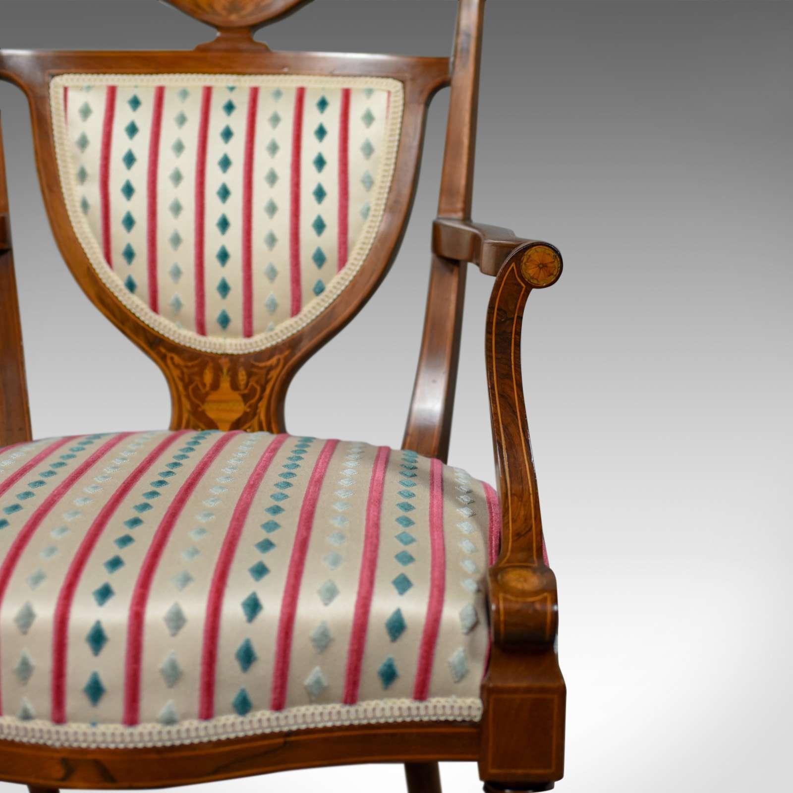 Antique  Elbow Chair, Rosewood, English Open Armchair, Maple & Co. Circa 1910