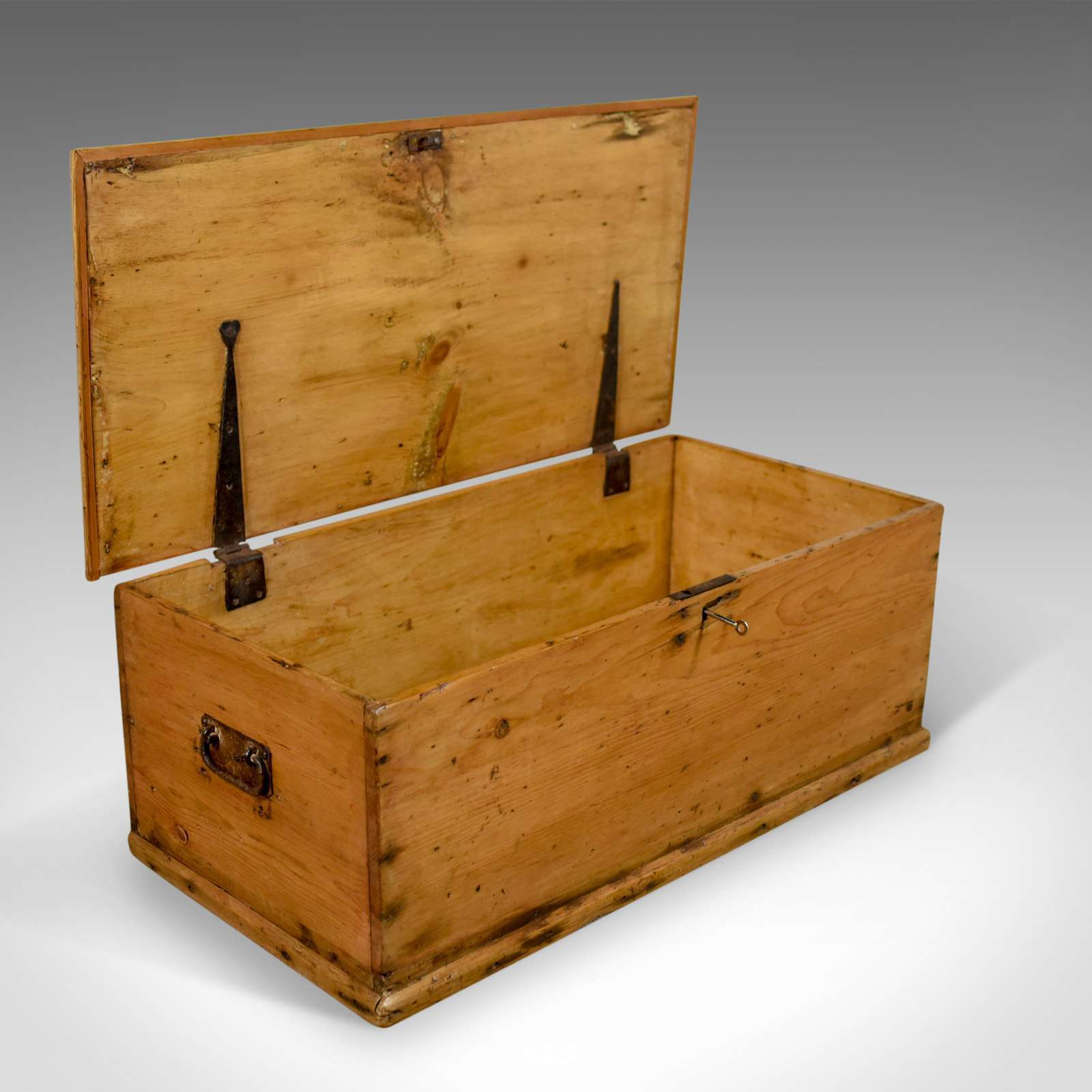 Antique Pine Trunk, English Carriage Chest, Victorian Circa 1880