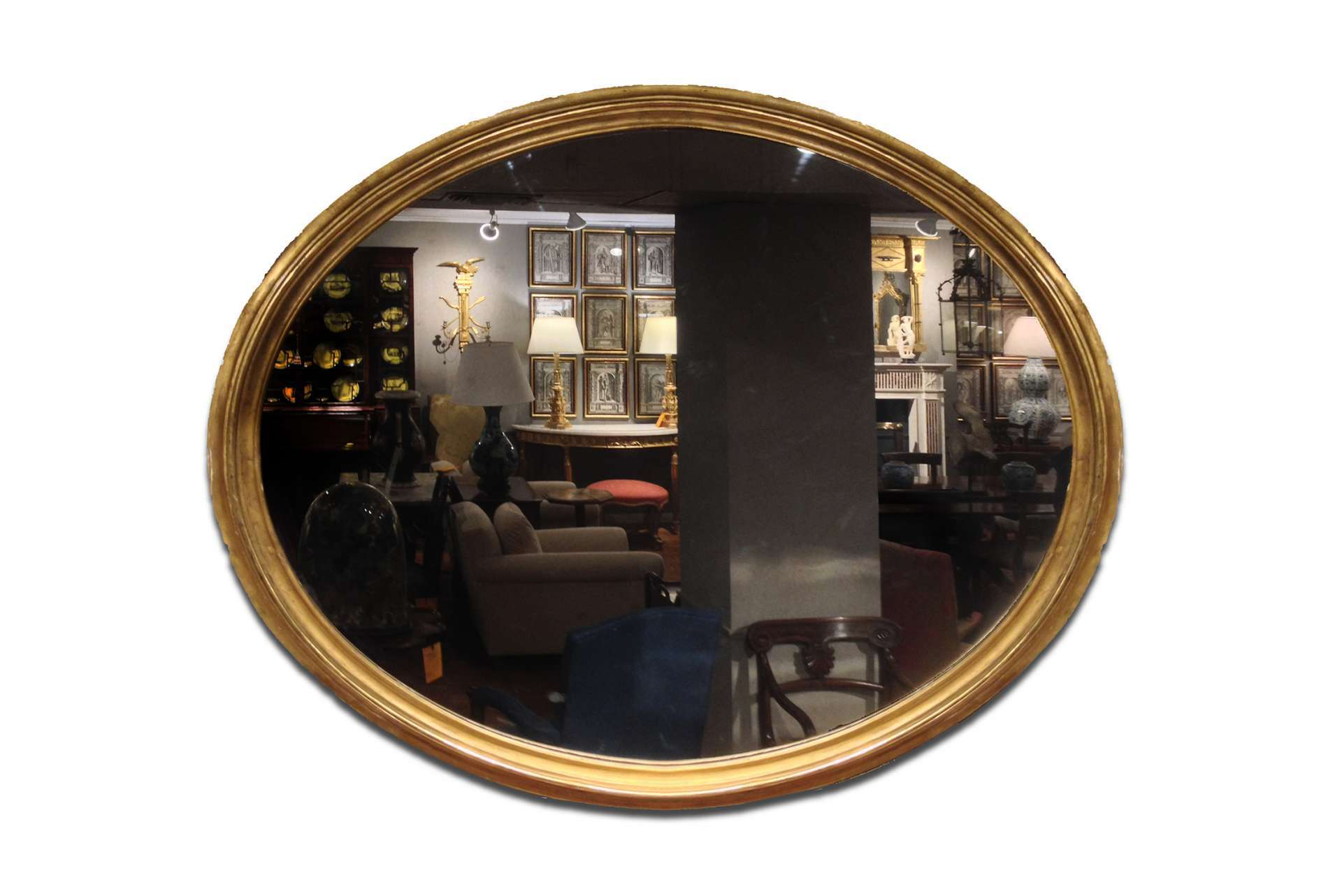 2842 – Large Regency Mirror with a Moulded and Gilt Oval Frame