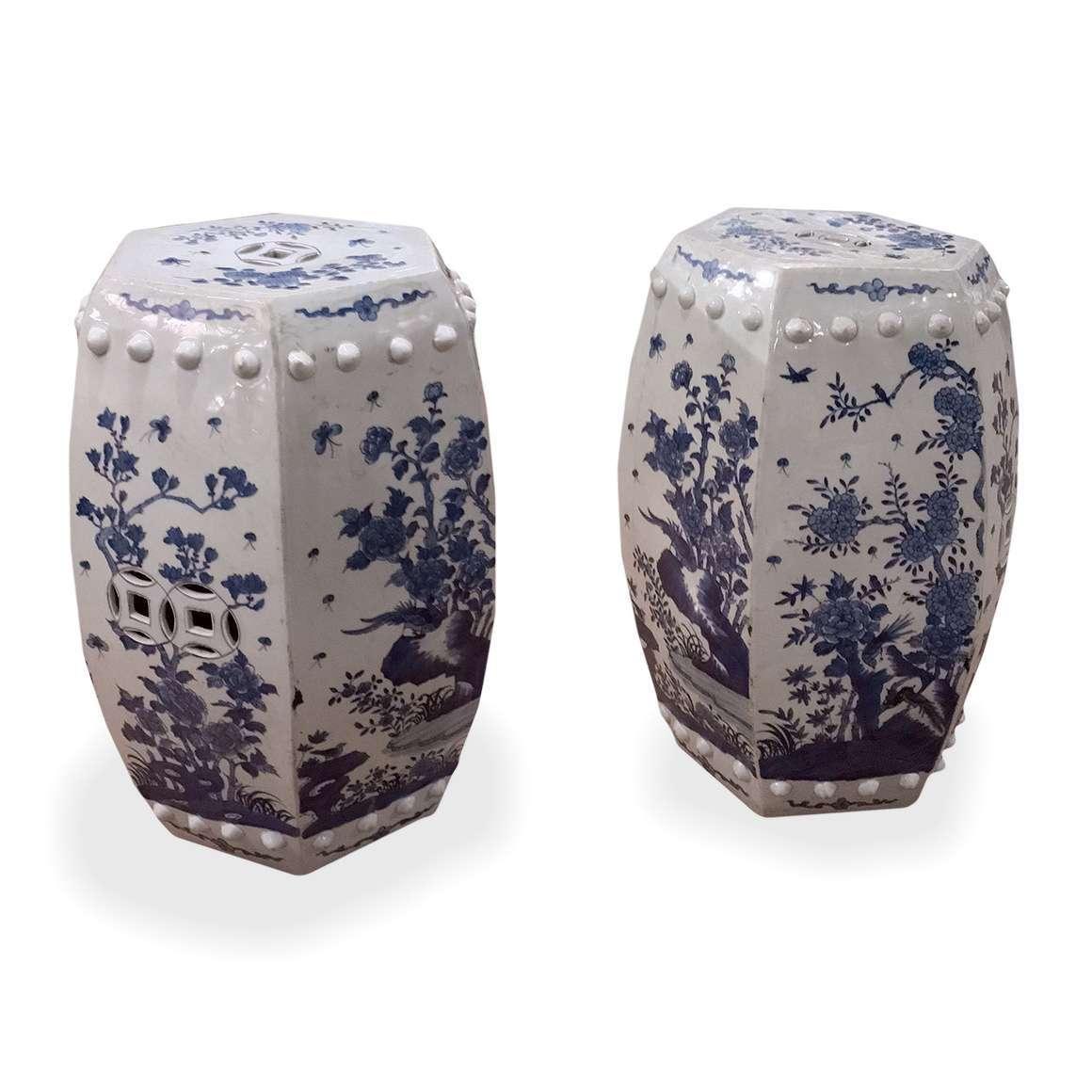 3073 – Pair of Chinese Hexagonal Blue and White Garden Seats