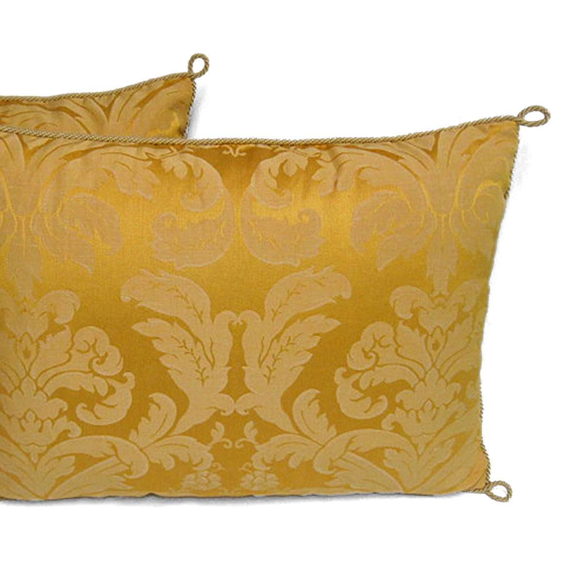 3014 – Pair of Handmade Yellow Damask Pillows with a Floral Pattern