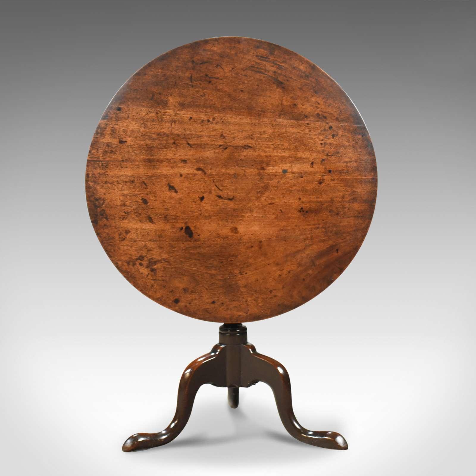 Antique Tilt Top Table, Circular, Georgian, Mahogany, Side c.1780