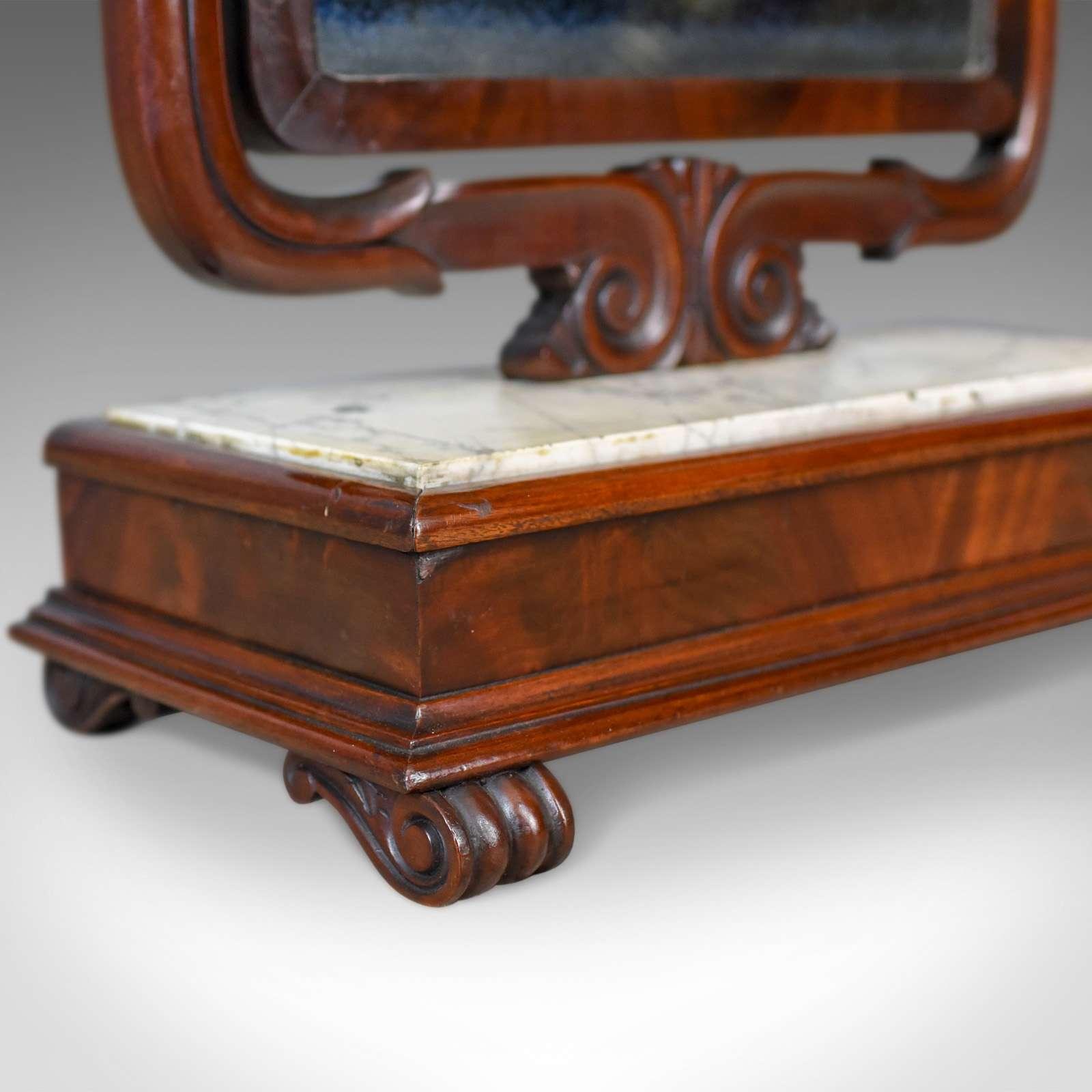Large Antique Vanity Mirror, Toilet, Swing, English, Victorian Marble Circa 1850