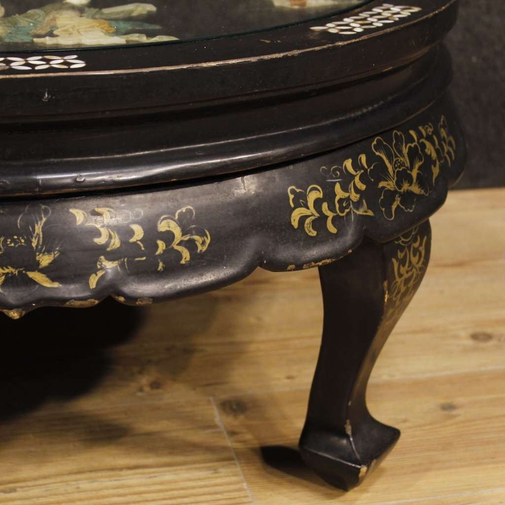 French Coffee Table In Lacquered And Painted Chinoiserie Wood 20th Century