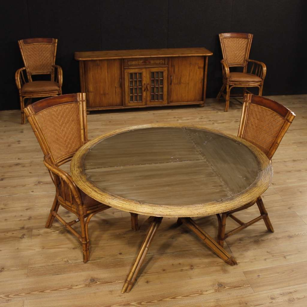Spanish Design Living Room Table In Bamboo Wood From 20th Century