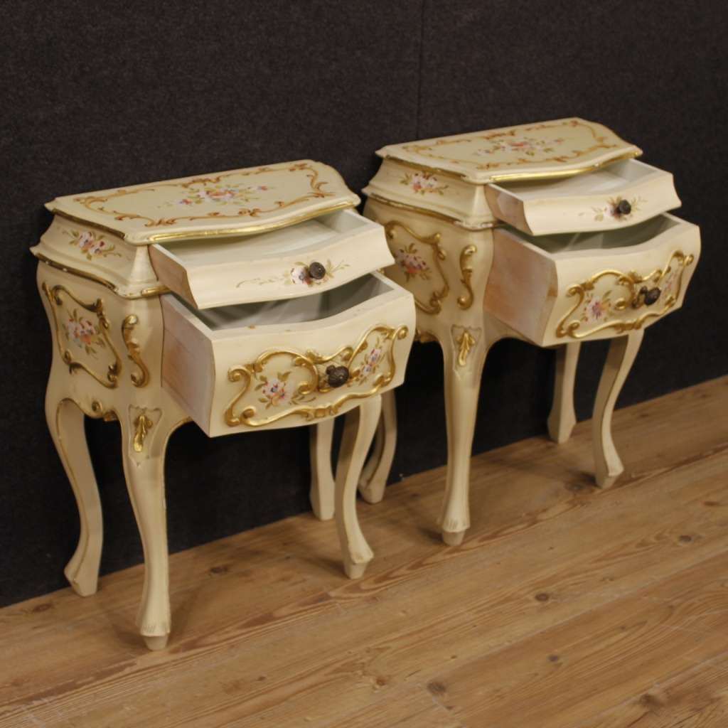 Pair Of Venetian Bedside Tables In Painted Wood With 2 Drawers 20th Century