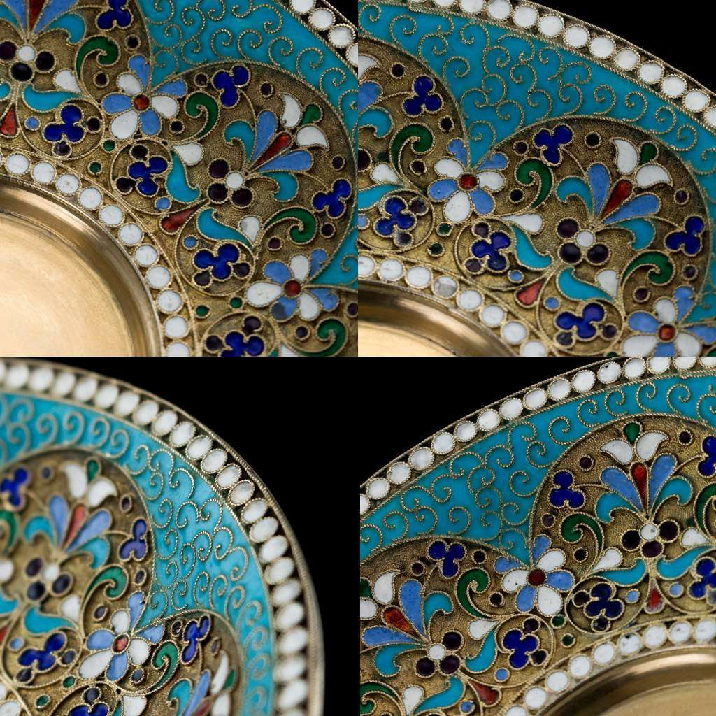ANTIQUE 19thC IMPERIAL RUSSIAN SOLID SILVER & ENAMEL CUP, SAUCER & SPOON c.1890