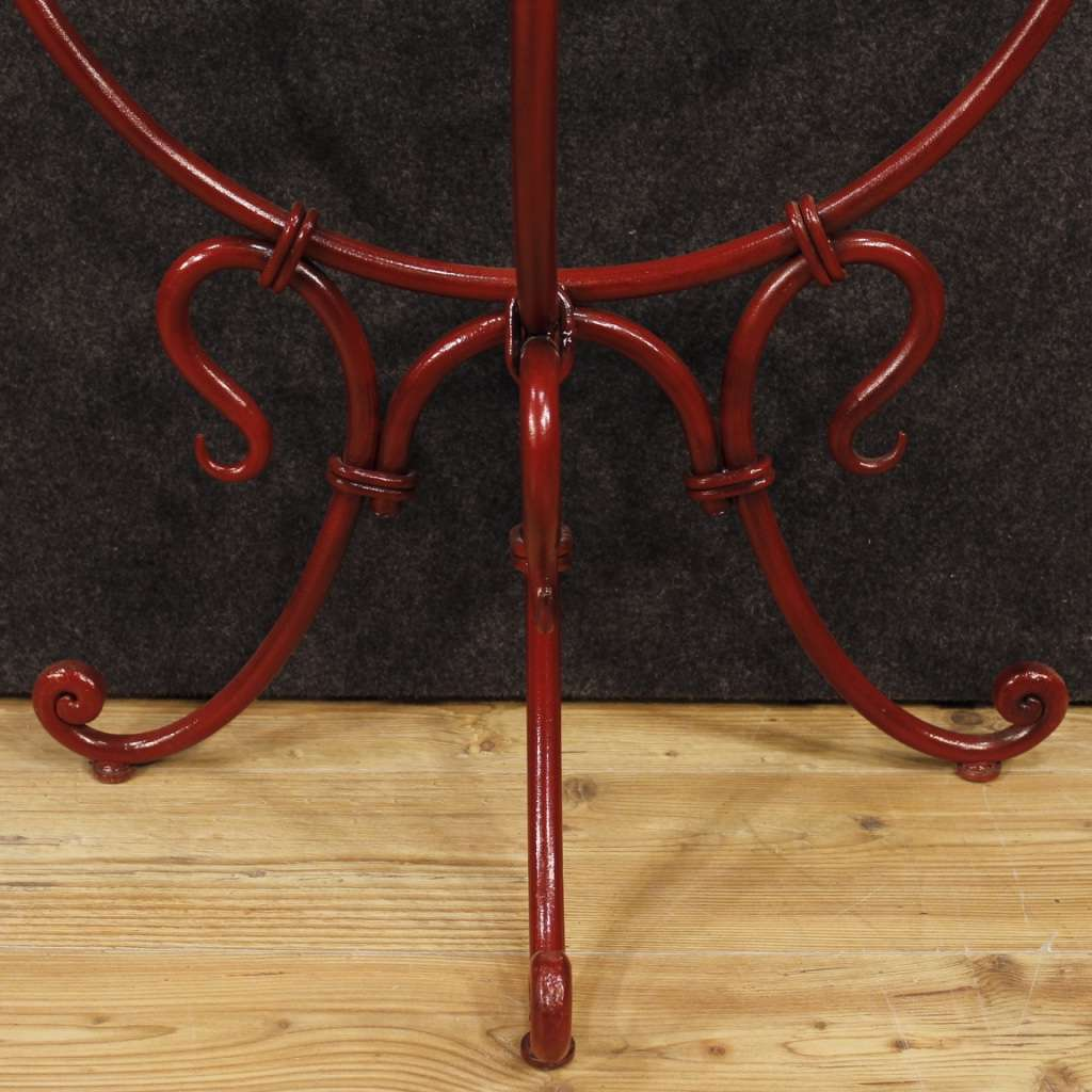 French Demilune Console Table In Painted Metal With Glass Top From 20th Century