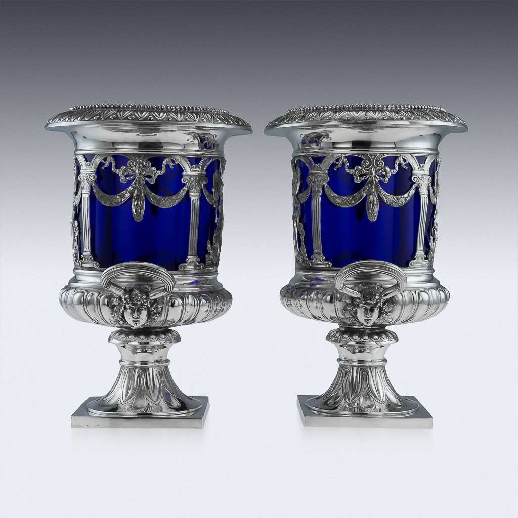 ANTIQUE 20thC GERMAN NEO-CLASSICAL SOLID SILVER & GLASS WINE COOLERS c.1900