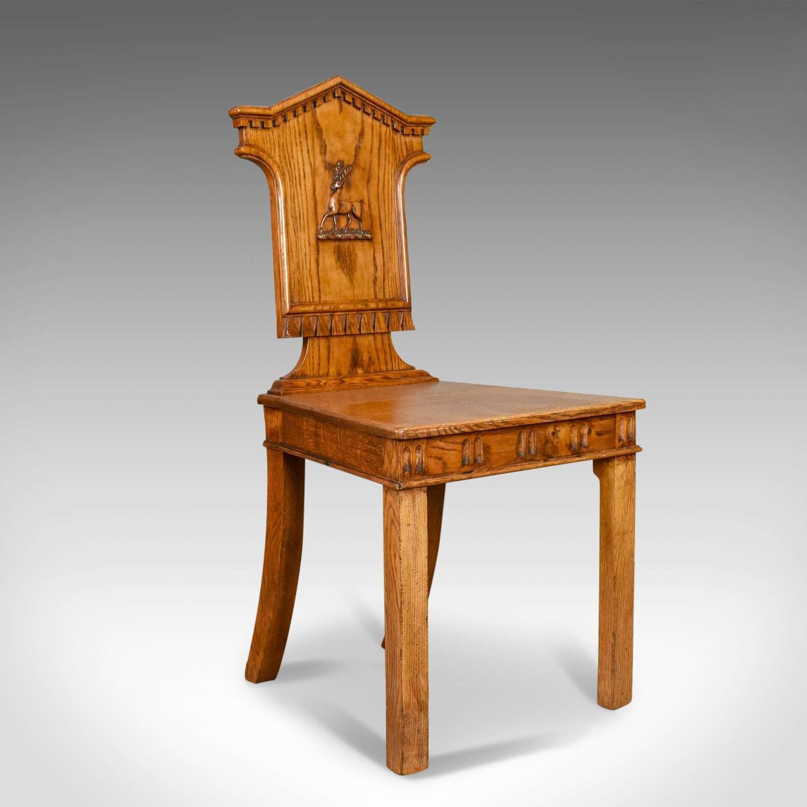 Set Of Three Antique Hall Chairs, Oak, Scottish, Stag, Regency Circa 1820