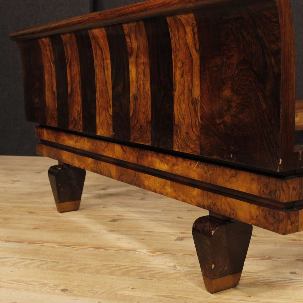 Italian Double Bed In Palisander And Burl Walnut In Art Déco Style 20th Century