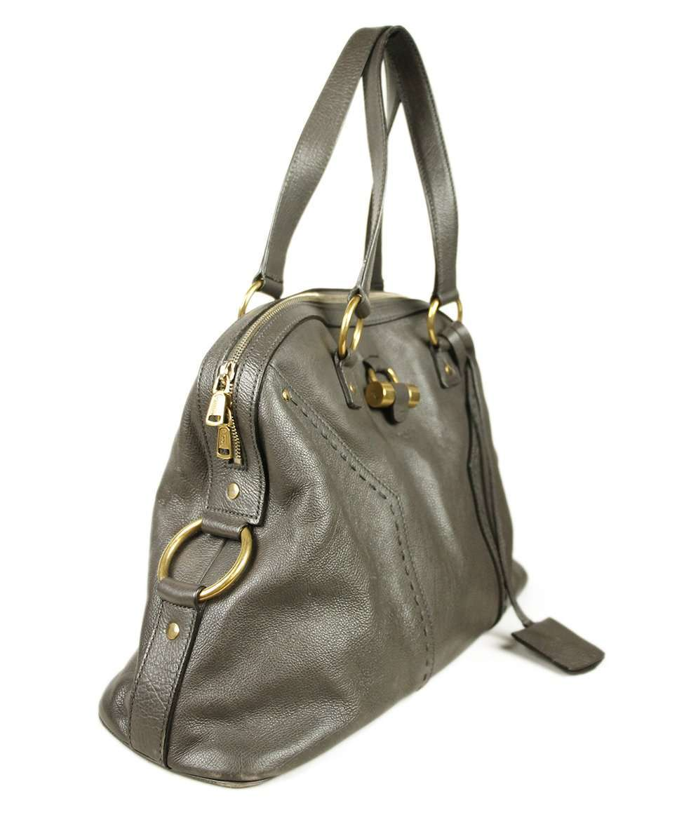 YSL GREY LEATHER TOTE