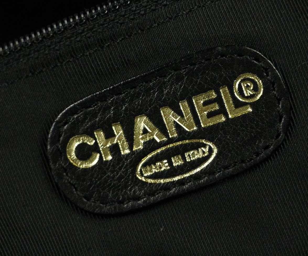 CHANEL BLACK LEATHER PLASTIC CHAIN TOTE