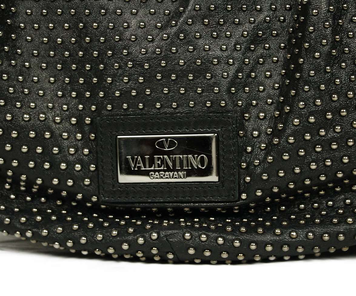 "VALENTINO ""STUDDED 360 HOBO"" BLACK LEATHER HANDBAG"