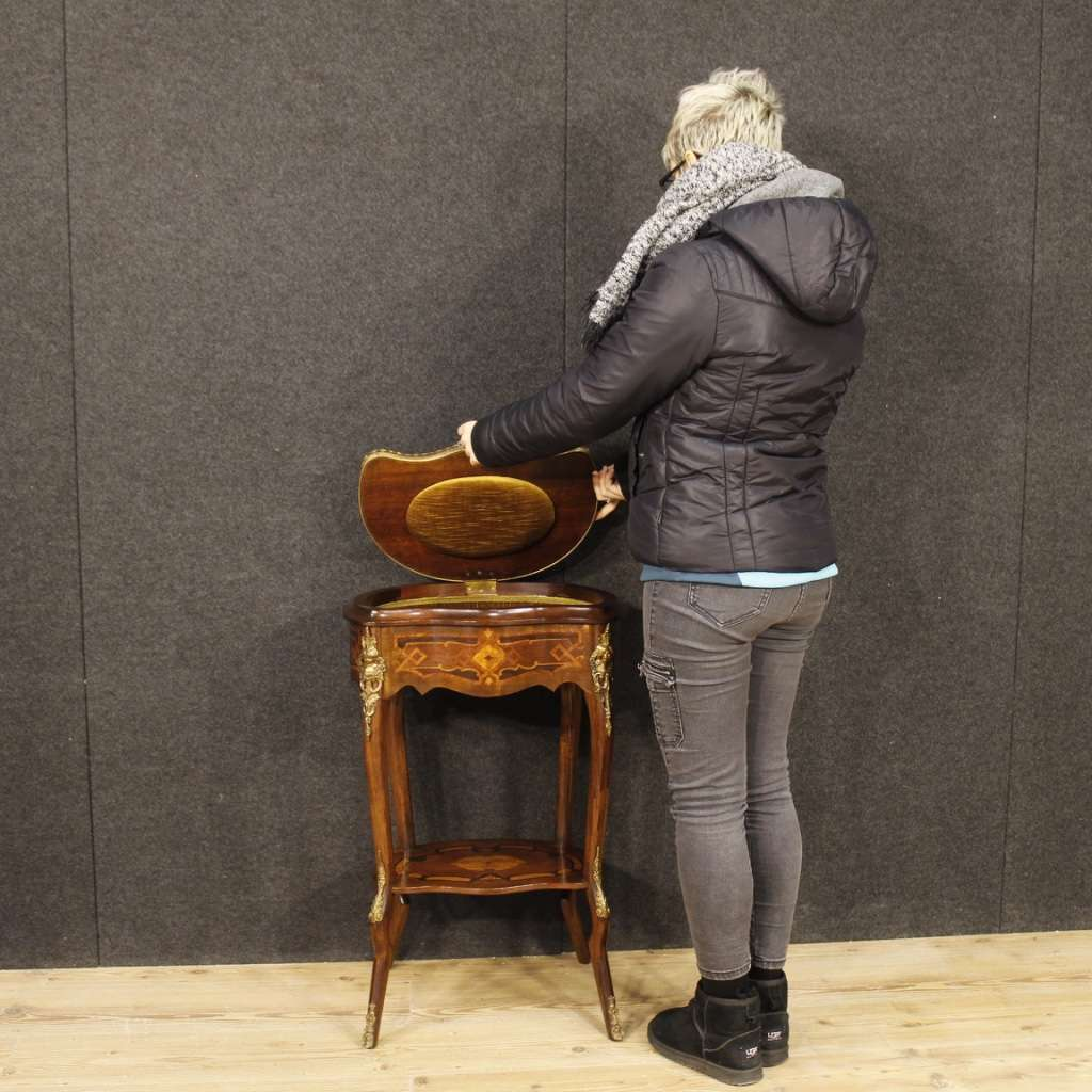 French Inlaid Sewing Table In Mahogany, Rosewood, Palisander, Maple, Fruitwood