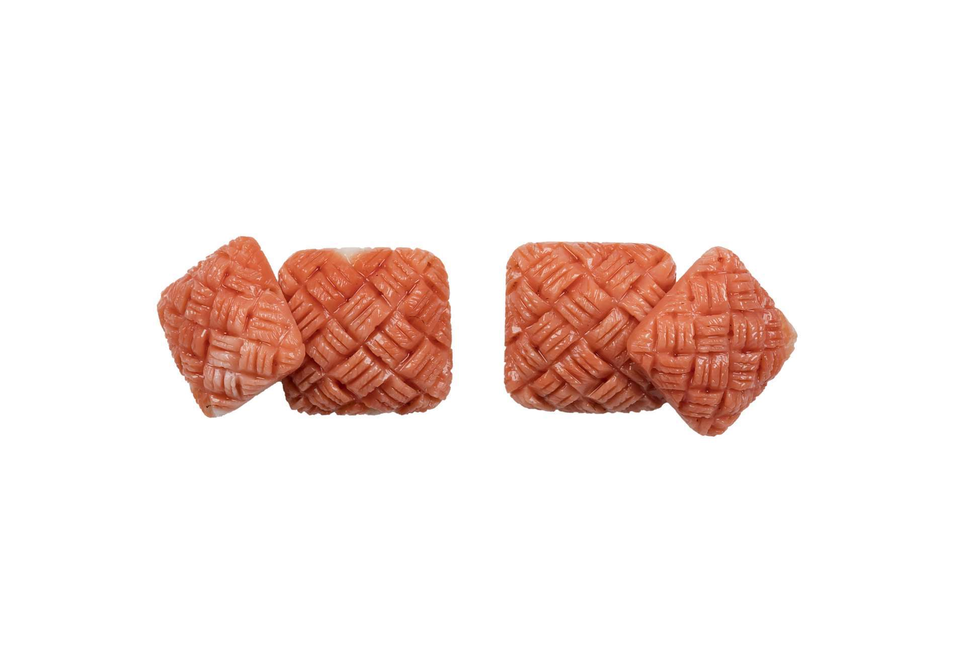 TWINS SQUARE BRAIDED IN MEDITERRANEAN CORAL