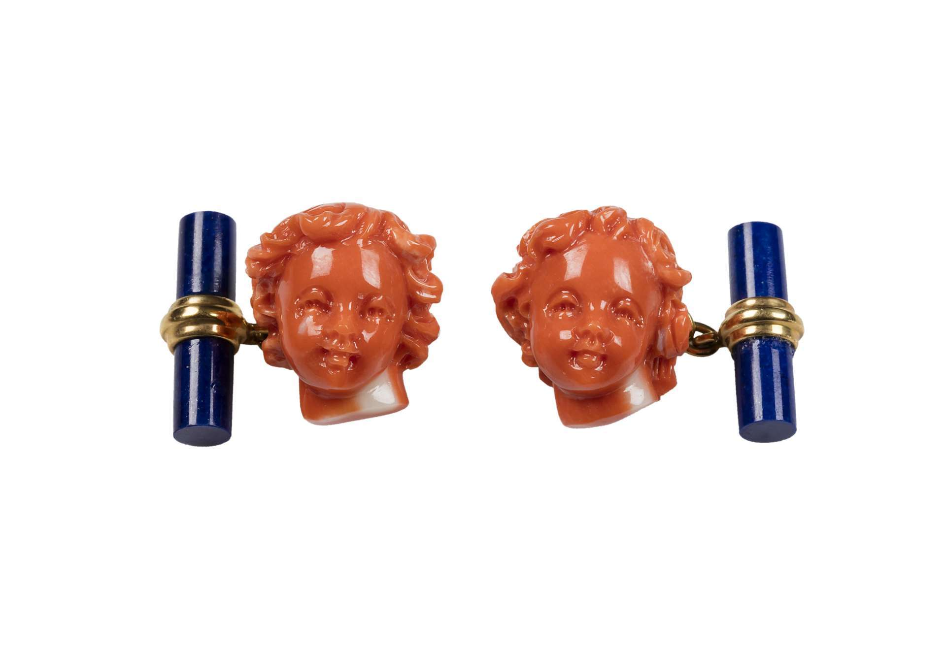 SMALL TWINS PUTTI IN MEDITERRANEAN CORAL WITH LAPIS LAZULI BARS