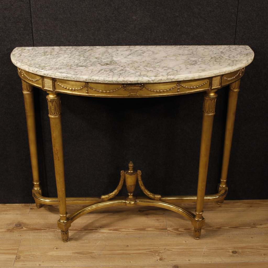 20th Century French Demilune Console Table In Louis XVI Style