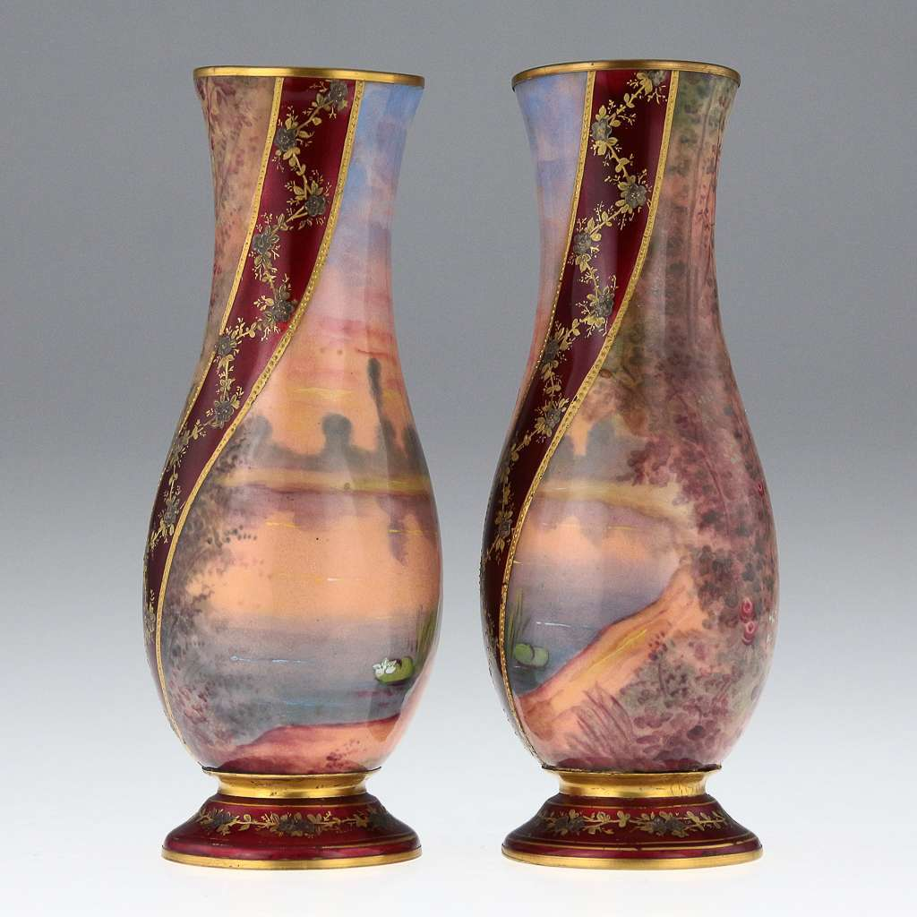 ANTIQUE 20thC FRENCH LIMOGES PAIR OF HAND PAINTED ENAMEL VASES c.1910