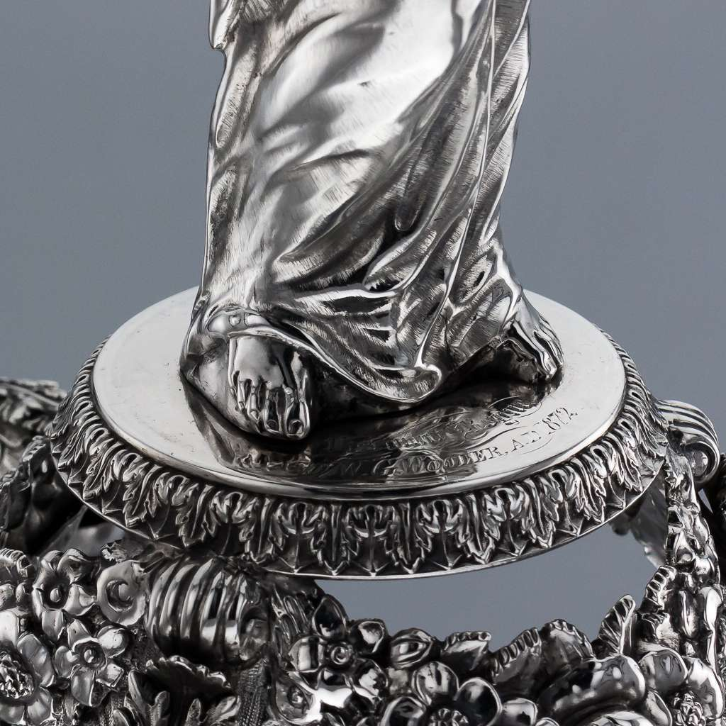 ANTIQUE 19THC RARE GEORGIAN SOLID SILVER FIGURAL CENTREPIECE, LONDON C.1829
