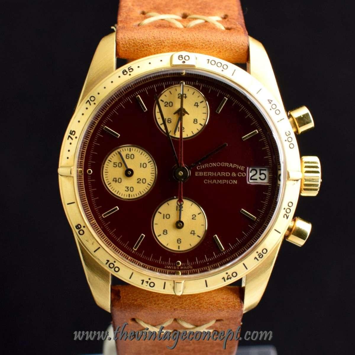 Eberhard 18K YG Stella Oxblood Dial Chronograph