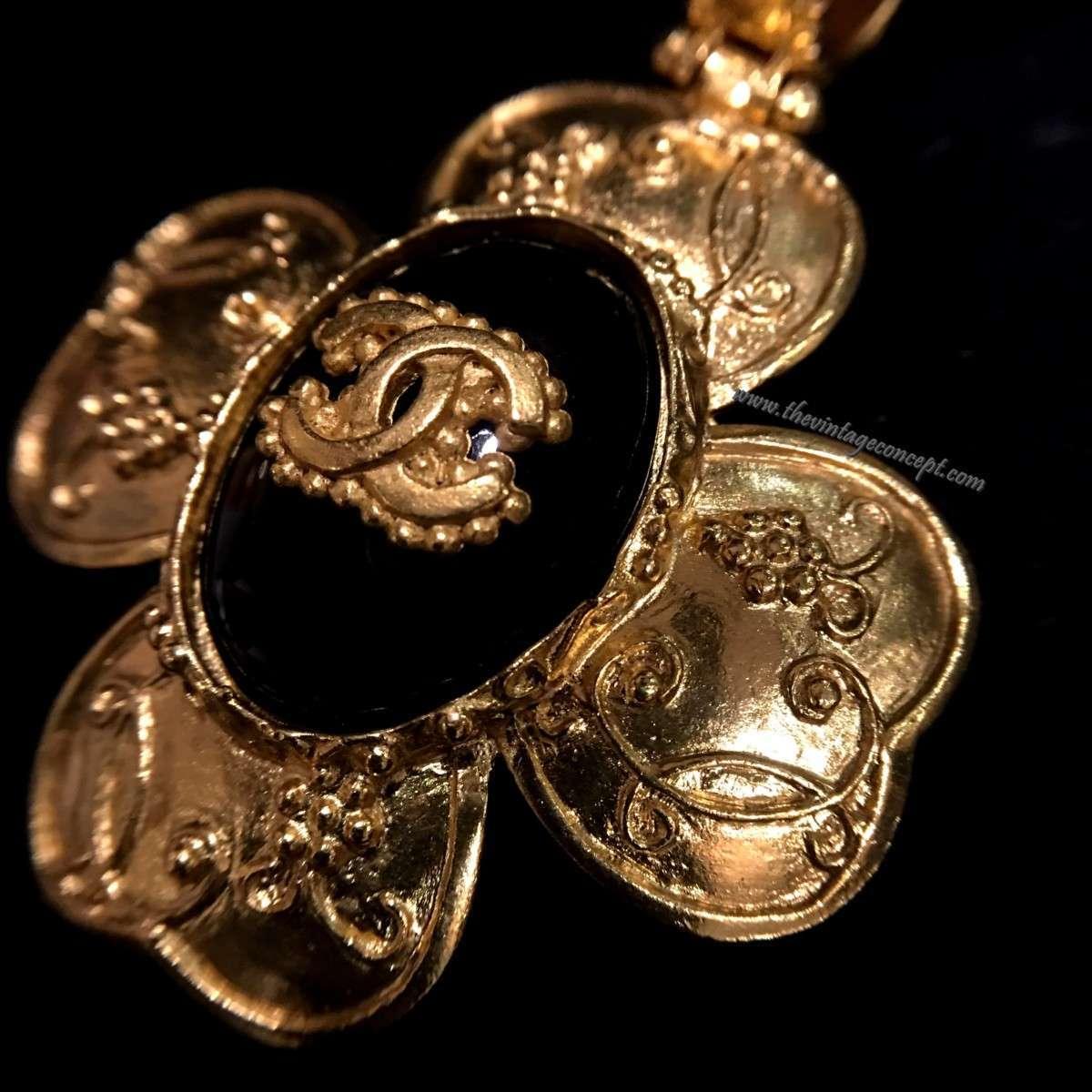 Chanel Logo Clover Pendant Necklace