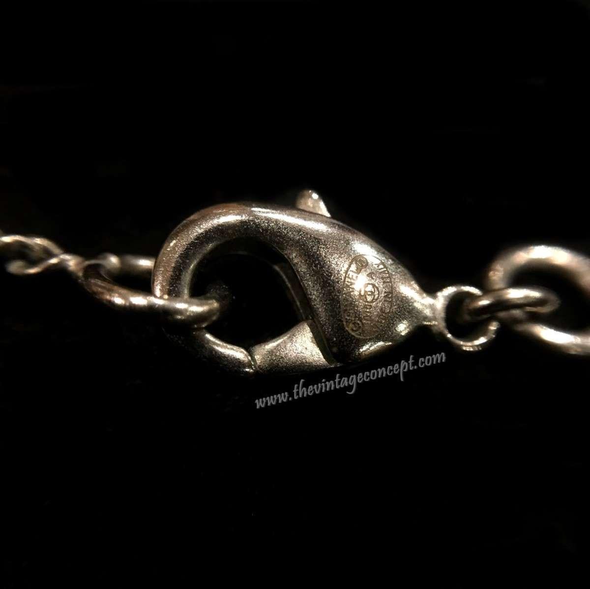 Chanel Silver Glitter Logo w/ White Drop Necklace