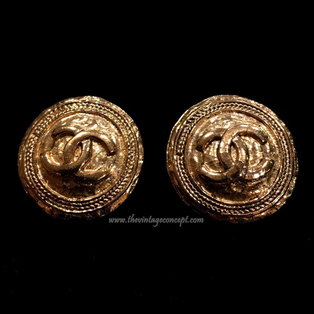 Chanel Logo Round Shaped Clips Earrings
