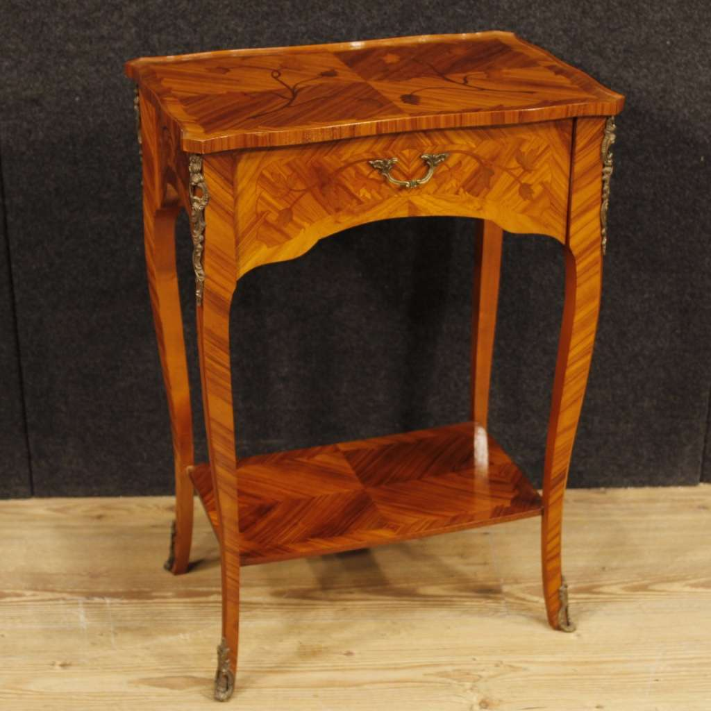 French Inlaid Side Table In Rosewood And Mahogany From 20th Century