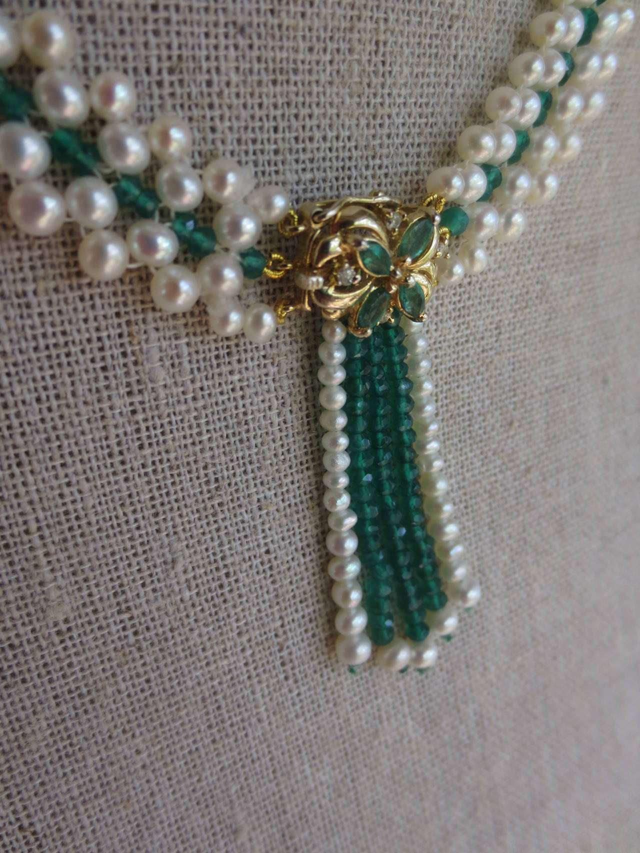 Marina J Woven Pearl Emerald Gold Beaded Necklace