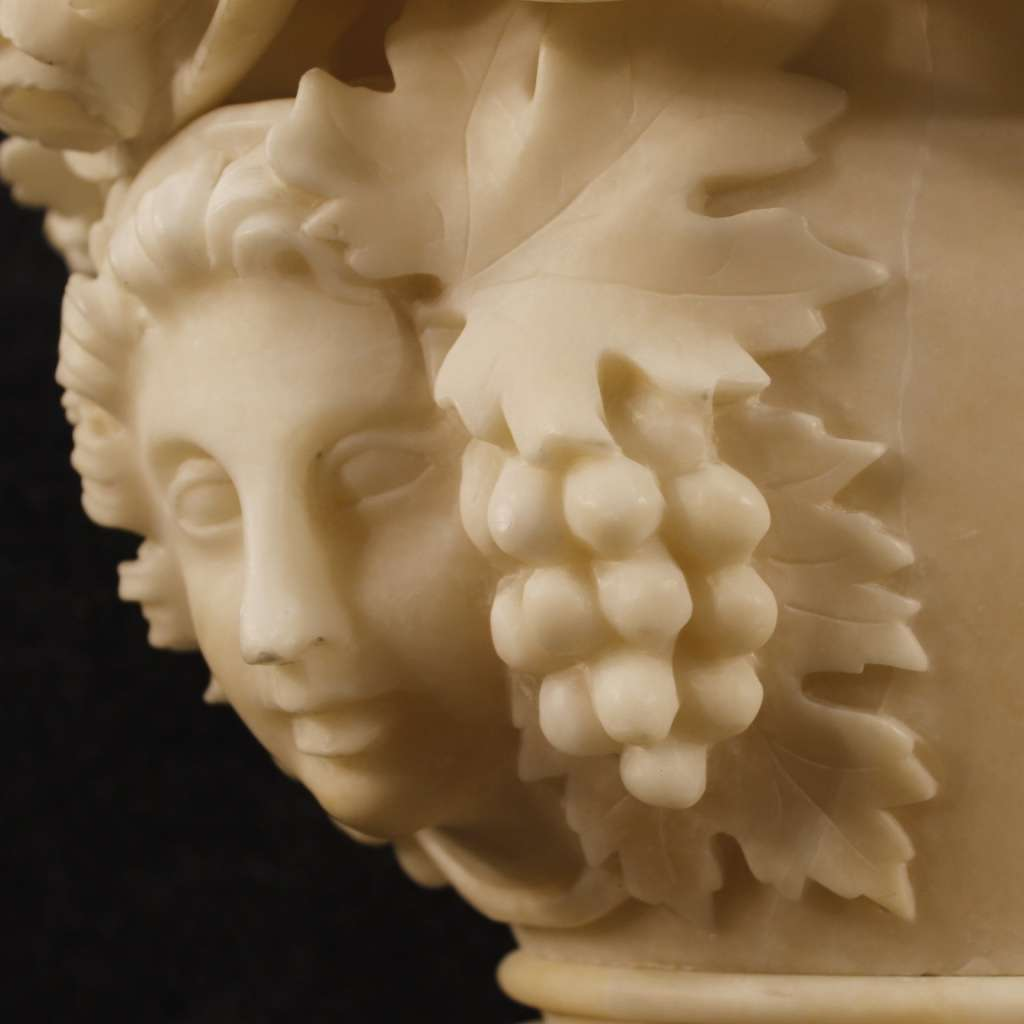 French Alabaster Vase With Neoclassical Decorations Of Fruit And Female Face
