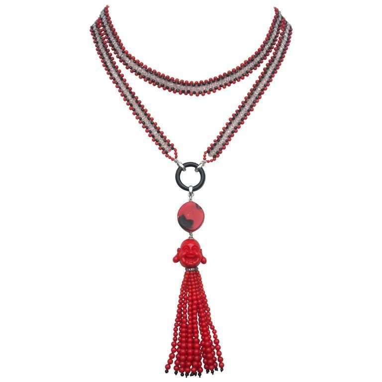 Marina J Coral, Black Spinel, and Rose Quartz Beaded Buddha Tassel Necklace