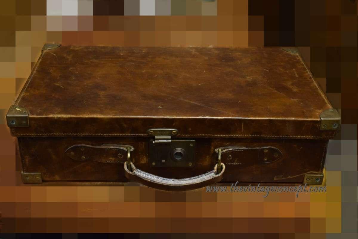 Vintage Leather Trunk Suit Case