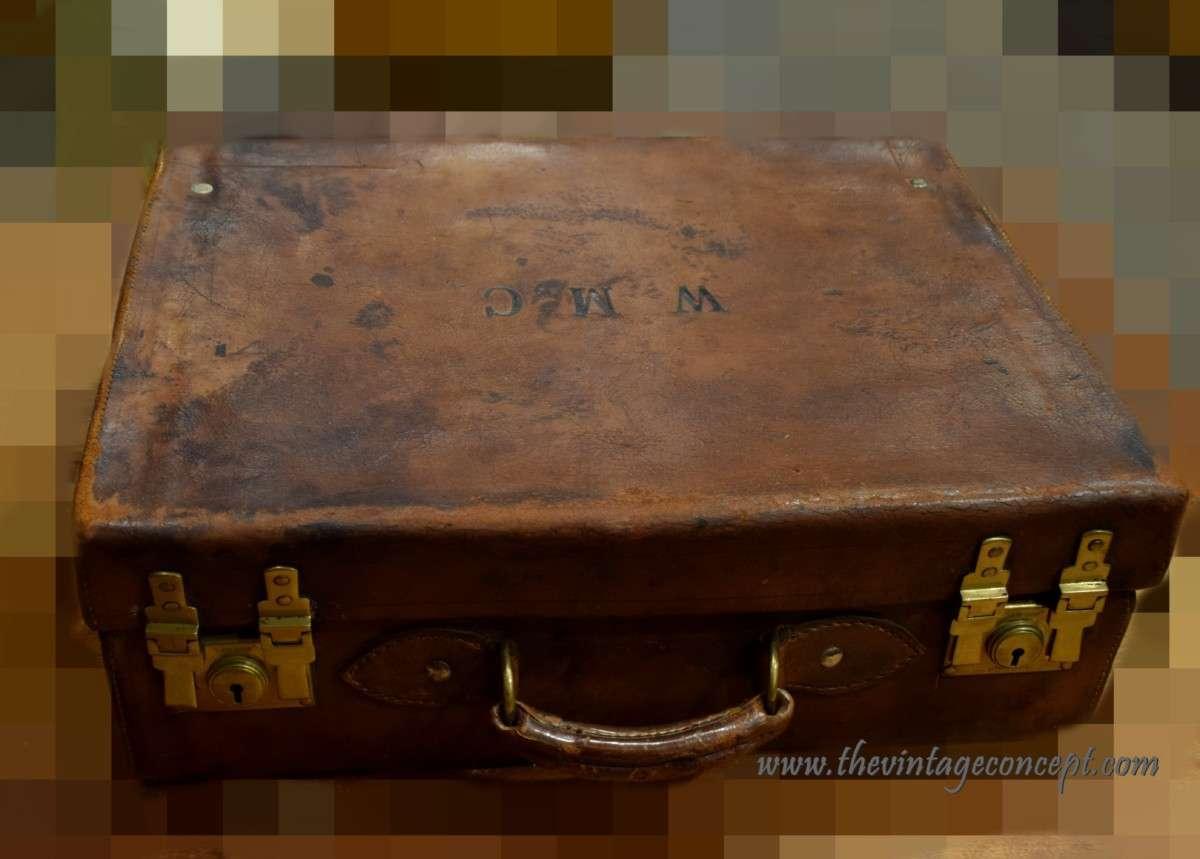 Vintage Leather Trunk Suit Case W M C