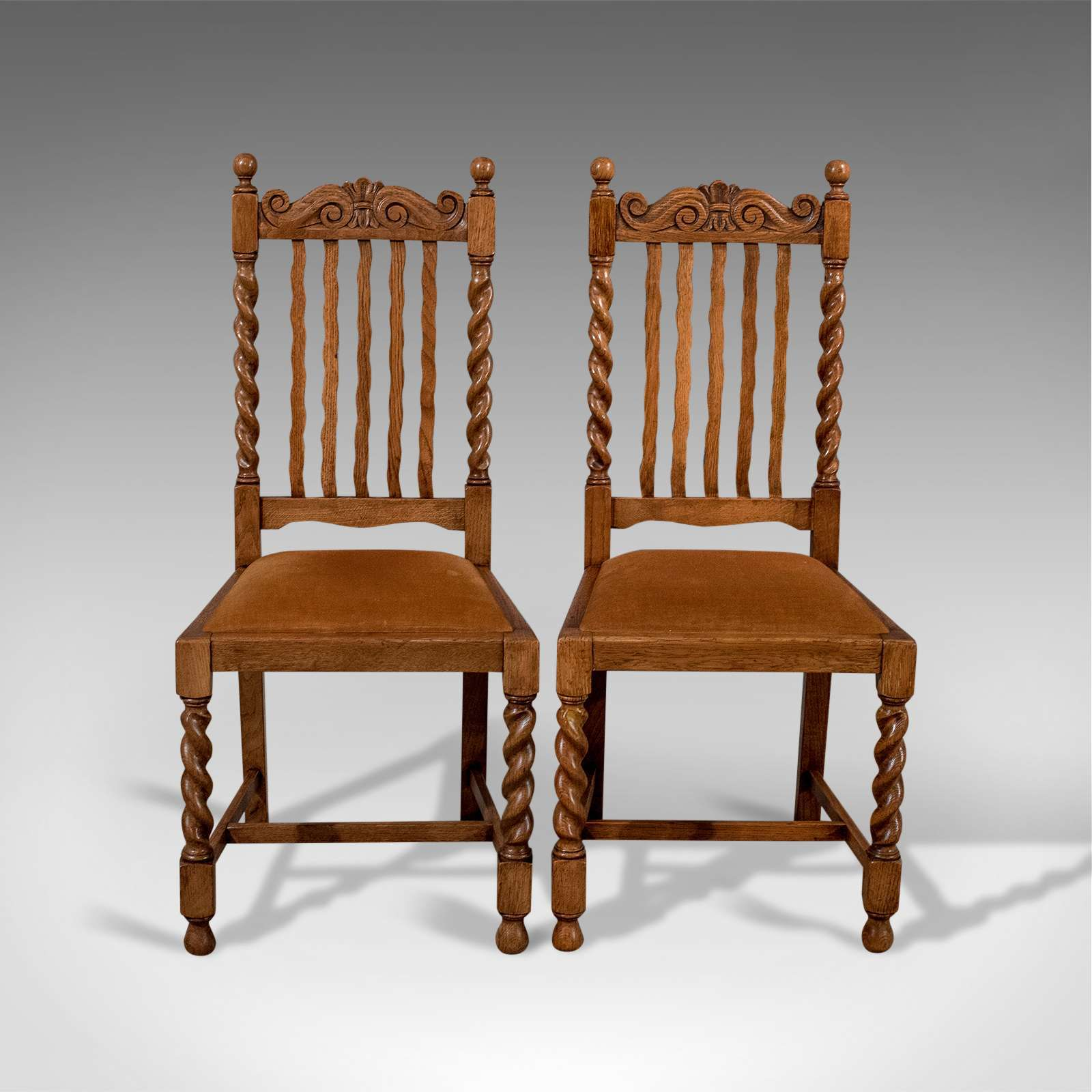 Antique Pair of Chairs, English, Oak, Dining, Side, Hall, Edwardian Circa 1910