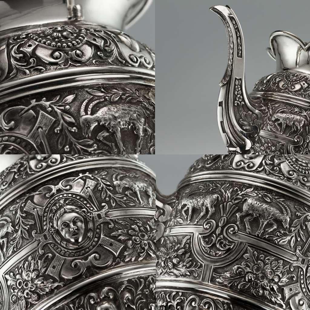 ANTIQUE 19thC VICTORIAN SOLID SILVER CELLINI TEA SERVICE, MAPPIN & WEBB c.1893