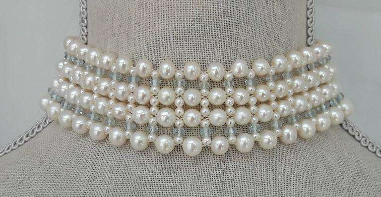 Woven Large/Small Pearl, Aquamarine, Choker Necklace by Marina J