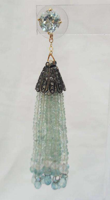 Aquamarine Gold Dangle Tassel Earrings with Diamond Silver Cup by Marina J.