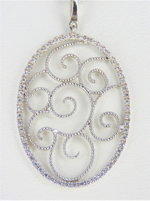 14 kt white gold pendant and necklace, set with approx. 0.35 ct diamond - 44 cm - 3.9 grams